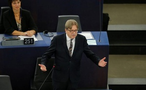 FILE PHOTO: Guy Verhofstadt, the EU Parliament's Brexit steering group coordinator, speaks during a debate on Brexit at the European Parliament in Strasbourg, France, September 18, 2019. Reuters