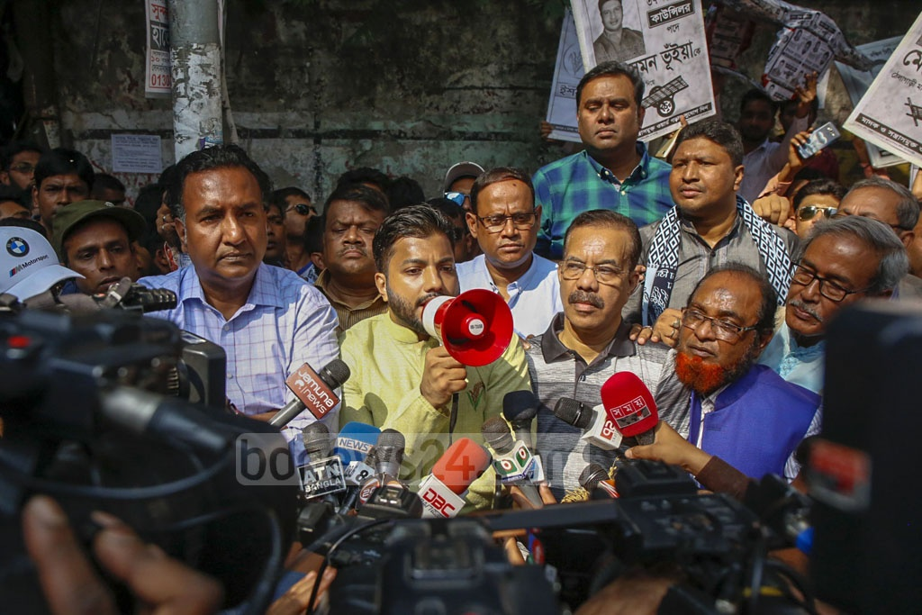 Ishraque Hossain, the BNP-backed mayoral candidate for the Dhaka South City Corporation, running his election campaign in Old Dhaka's Sadarghat area on Saturday.