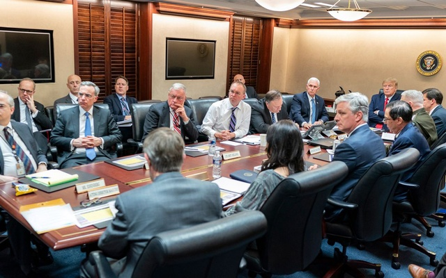 President Donald J Trump, joined by Vice President Mike Pence, meets with senior White House advisors Tuesday evening, Jan 7, 2020, in the Situation Room of the White House, on a further meeting about the Islamic Republic of Iran missile attacks on US military facilities in Iraq. Official White House Photo