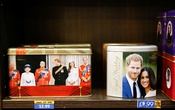 Merchandise depicting Britain's Prince Harry and Meghan, Duchess of Sussex, are seen on display in a souvenir shop near Buckingham Palace in London, Britain, Jan 19, 2020. REUTERS