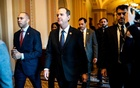 Reps Hakeem Jeffries, left, and Adam Schiff walk with other House impeachment managers to do a walkthrough of the Senate floor and their office space on the Senate side of the Capitol they will use during the impeachment trial of PresidentTrump in Washington on Monday, Jan 20, 2020. The New York Times