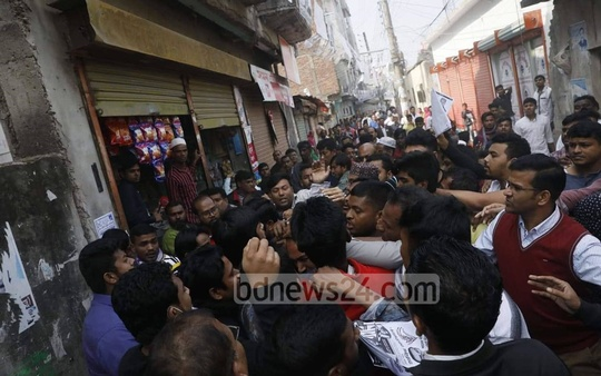 A group of young people attacked Tabith Awal, the BNP-endorsed mayoral candidate for Dhaka North, during an election campaign in Dhaka's Gabtoli on Tuesday. BNP blamed the supporters of Awami League-backed councillor for the attack.