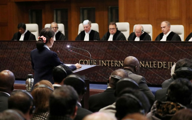 FILE PHOTO: Myanmar's leader Aung San Suu Kyi speaks in front of the judges on the second day of hearings in a case filed by Gambia against Myanmar alleging genocide against the minority Muslim Rohingya population, at the International Court of Justice (ICJ) in The Hague, Netherlands December 11, 2019. Reuters