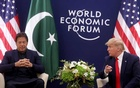 US President Donald Trump gestures during a bilateral meeting with Pakistan's Prime Minister Imran Khan at the 50th World Economic Forum (WEF) annual meeting in Davos, Switzerland, Jan 21, 2020. REUTERS/Jonathan Ernst
