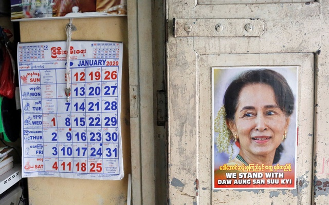 A poster supporting Myanmar State Counsellor Aung San Suu Kyi is seen in a shop in Yangon, Myanmar, Jan 23, 2020. REUTERS