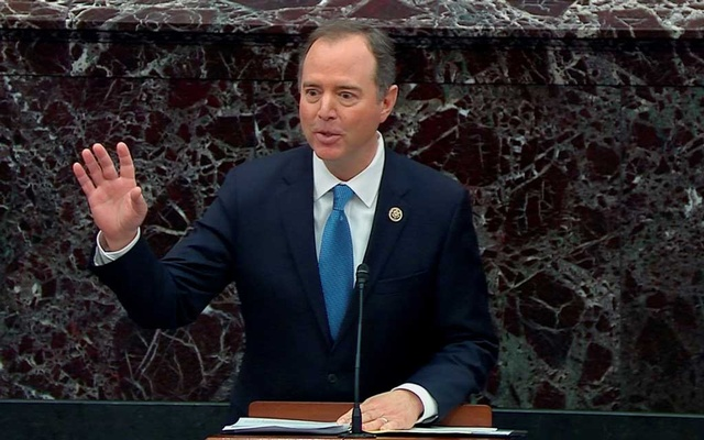 Lead manager House Intelligence Committee Chairman Adam Schiff (D-CA) speaks during the continuation of opening arguments on the third day of the Senate impeachment trial of US President Donald Trump in this frame grab from video shot in the US Senate Chamber at the US Capitol in Washington, US, January 22, 2020. REUTERS