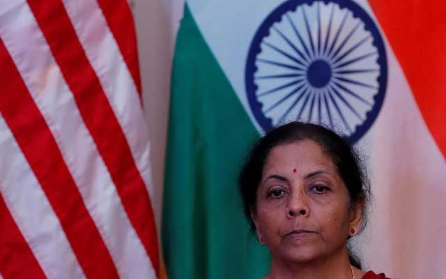 India's Finance Minister Nirmala Sitharaman attends a joint news conference with US Treasury Secretary Steven Mnuchin in New Delhi, India, Nov 1, 2019. REUTERS/FILE
