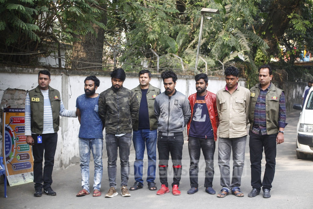 The Detective Branch of Police on Saturday presents before the media five members of a robbery gang arrested from Dhaka's Khilgaon and Narayanganj.