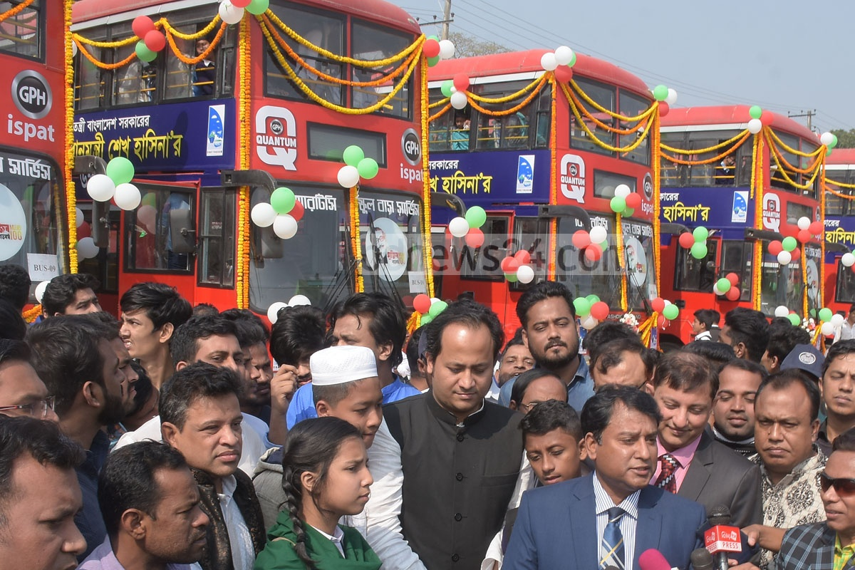 Deputy Education Minister Hasan Chowdhury Nowfel inaugurates 10 new double-decker BRTC buses at Chattogram's MA Aziz Stadium Gymnasium field on Saturday as part of a gift by Prime Minister Sheikh Hasina for students to commute in the port city. Photo: Suman Babu