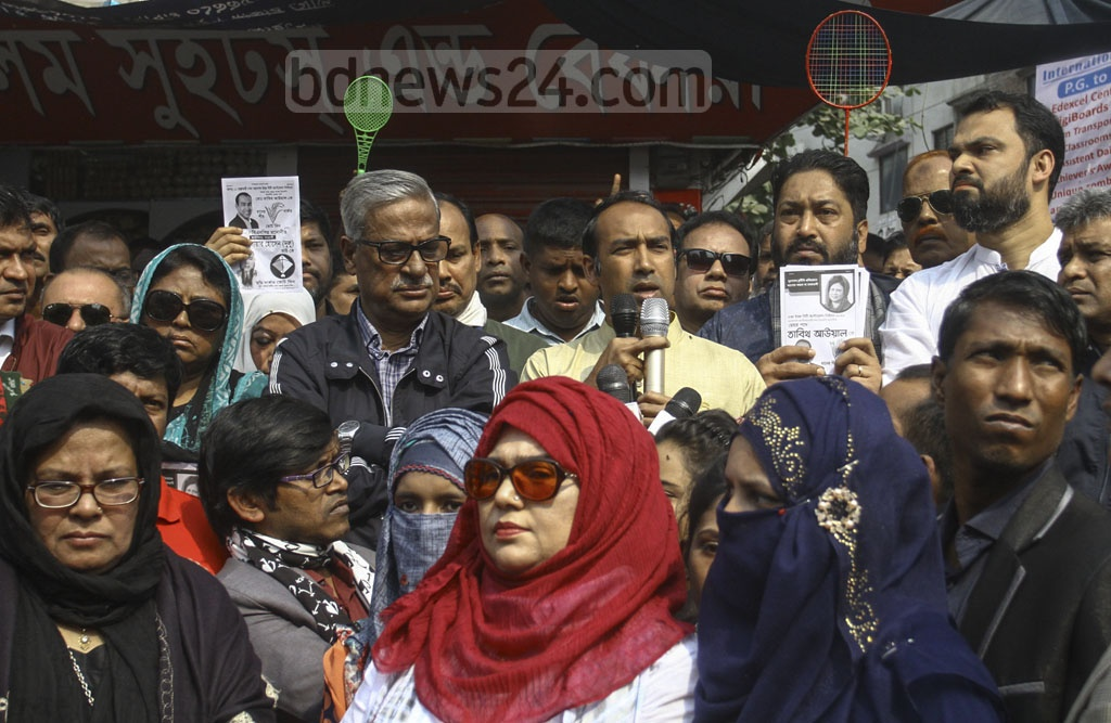 Tabith Awal, the BNP-backed mayoral candidate for Dhaka North, running his election campaign in the capital's Mirpur-6 on Saturday.
