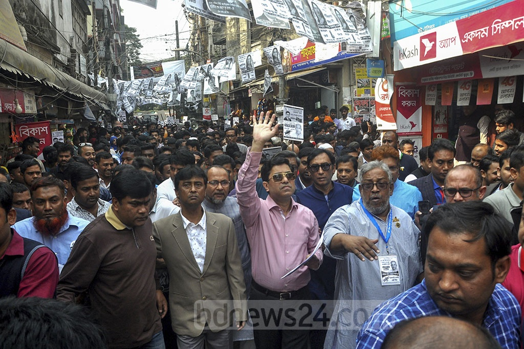 Sheikh Fazle Noor Taposh, the Awami League candidate for Dhaka South mayor, campaigning in Basabo on Sunday ahead of the city corporation elections.