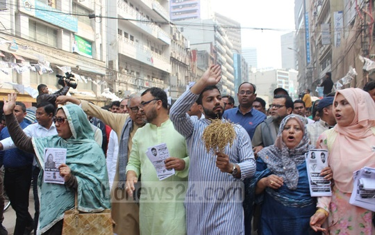 Ishraque Hossain, the BNP-backed mayoral candidate for Dhaka South, campaigning in Dhaka's Motijheel ahead of the Feb 1 polls on Sunday.