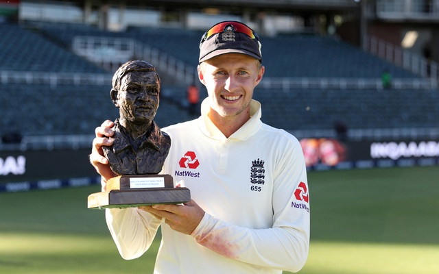 South Africa v England - Fourth Test - Imperial Wanderers Stadium, Johannesburg, South Africa - January 27, 2020 England's Joe Root poses for a photograph as he celebrates with the Basil D'Oliveira trophy after winning the test and series REUTERS