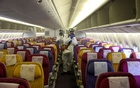Members of the Thai Airways crew disinfect the cabin of an aircraft of the national carrier during a procedure to prevent the spread of the coronavirus at Bangkok's Suvarnabhumi International Airport, Thailand, Jan 28, 2020. REUTERS