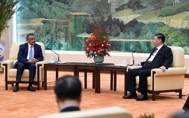 Tedros Adhanom, director general of the World Health Organization, meets with Chinese President Xi Jinping before a meeting at the Great Hall of the People in Beijing, China, January 28, 2020. Naohiko Hatta/Pool via REUTERS