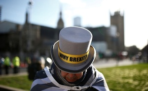 Anti-Brexit protestor Steve Bray stands outside the Houses of Parliament in London, Britain January 29, 2020. Reuters