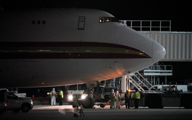 An aircraft chartered by the US State Department to evacuate government employees and other Americans from the novel coronavirus threat in the Chinese city of Wuhan, is seen on the tarmac after arriving at a closed terminal at Ted Stevens Anchorage International Airport in Anchorage, Alaska, US January 28, 2020. Reuters