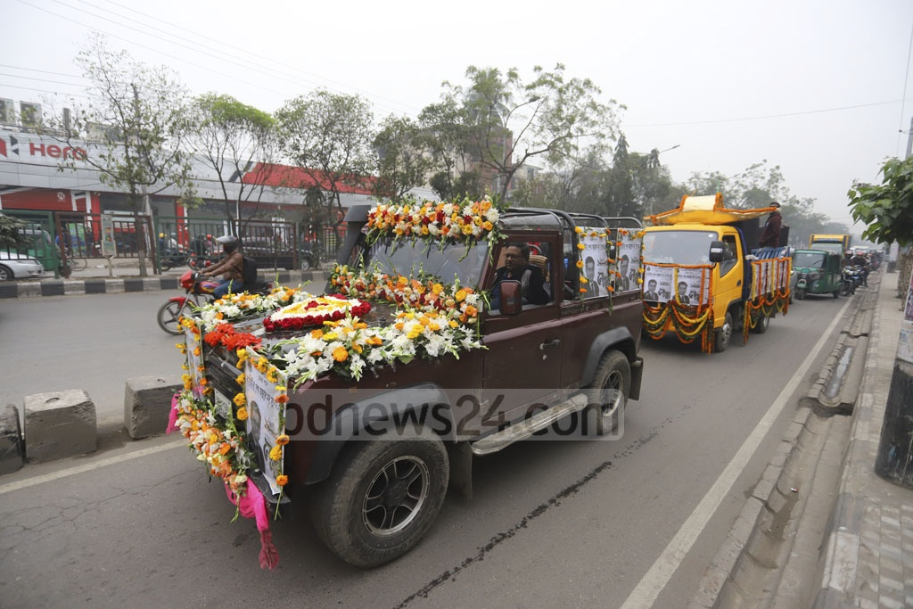 Vehicles decorated with flowers at the campaign of Sheikh Fazle Noor Taposh, the Awami League's mayoral candidate in the South.