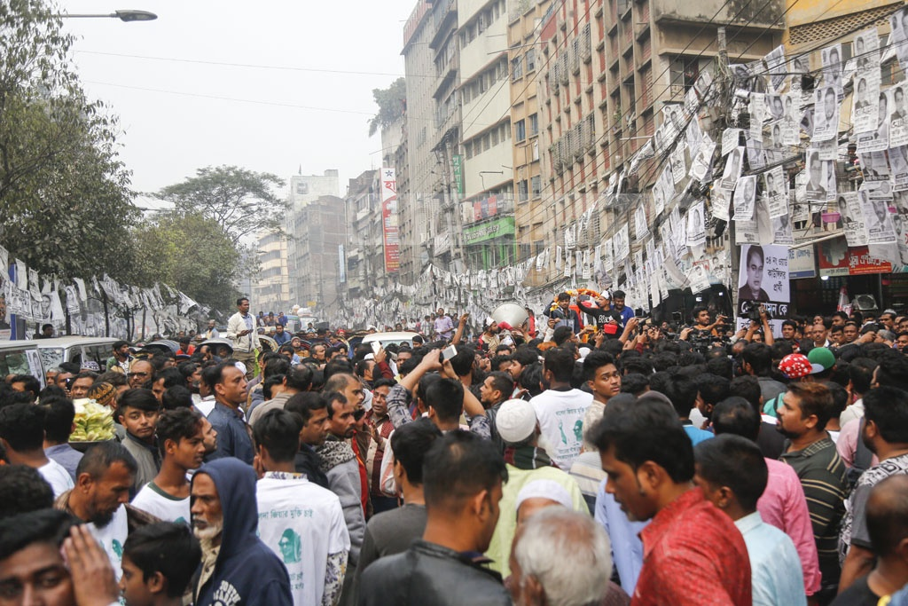 BNP leaders and activists rally with their mayoral candidate in Dhaka South Ishraque Hossain on Wednesday.