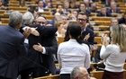 British Members of European Parliament react ahead of a vote on the Withdrawal Agreement at the European Parliament in Brussels, Belgium January 29, 2020. Reuters