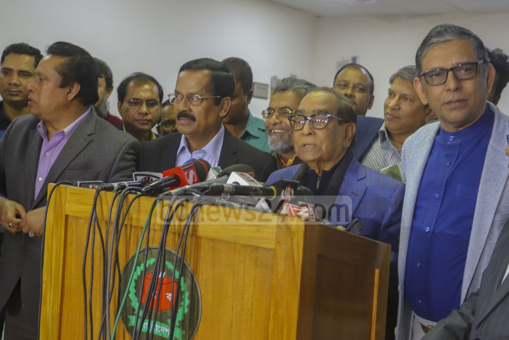 HT Imam, the co-chairman of the Awami League's committee to conduct election activities, speaking to the media on Thursday after a meeting with Chief Election Commissioner KM Nurul Huda at the commission headquarters on the final day of Dhaka city polls campaign. Photo: Asif Mahmud Ove