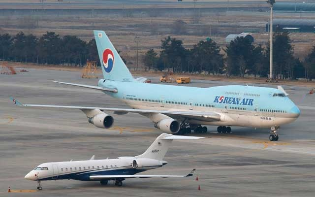 A chartered Boeing 747-400 plane carrying carrying evacuated South Koreans from Wuhan, the epicenter of a virus outbreak in China, arrives at Gimpo International Airport in Gimpo, South Korea, January 31, 2020. REUTERS