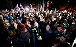 People celebrate as Britain leaves the EU on Brexit day in London, Britain, January 31, 2020. Reuters