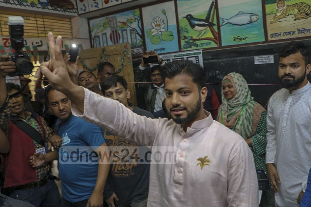 Ishraque Hossain, the BNP-endorsed mayoral candidate for Dhaka South, expresses hope about his chances of winning the election after casting vote at Gopibagh's Shaheed Shahjahan Primary School centre on Saturday.