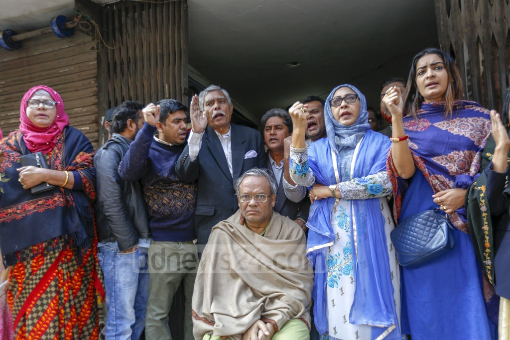 BNP's Senior Joint Secretary General Ruhul Kabir Rizvi spoke during the first shutdown of the year in front of the party's central office in Naya Paltan protesting alleged 'electoral fraud' in Dhaka city polls. Photo: Mahmud Zaman Ovi