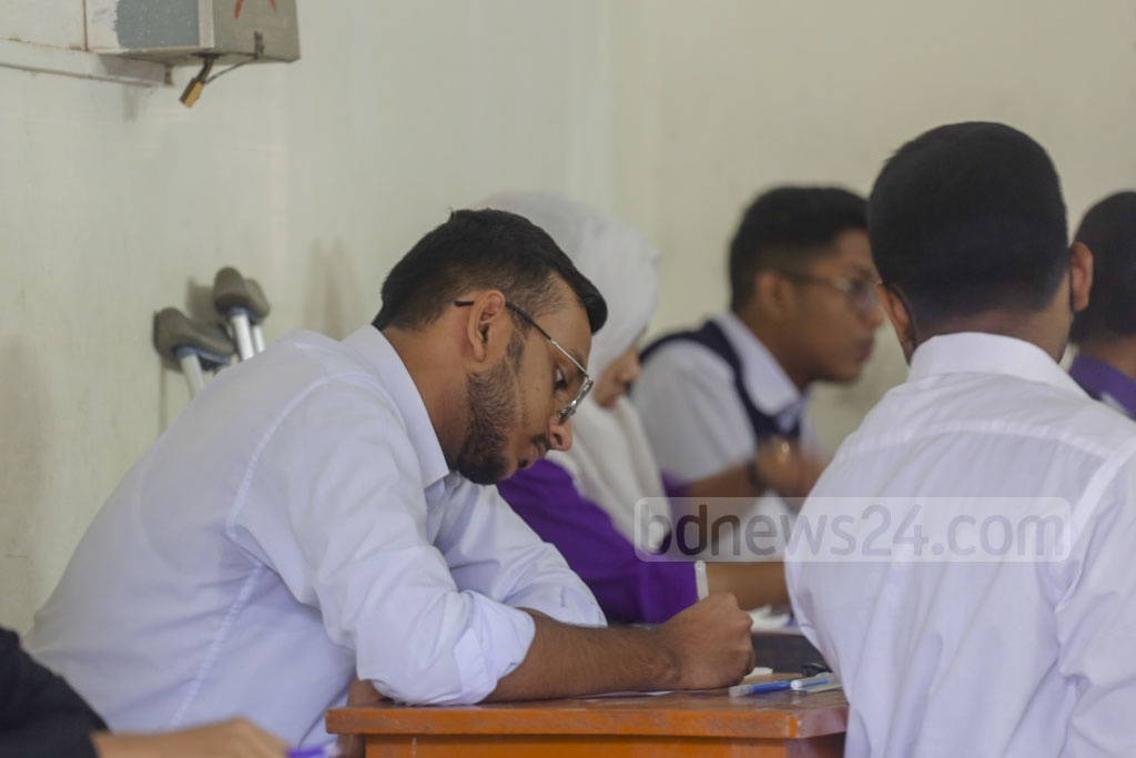 Students taking the SSC exam at the Tejgaon Government Girl's High School centre in Dhaka on Monday. Photo: Mahmud Zaman Ovi