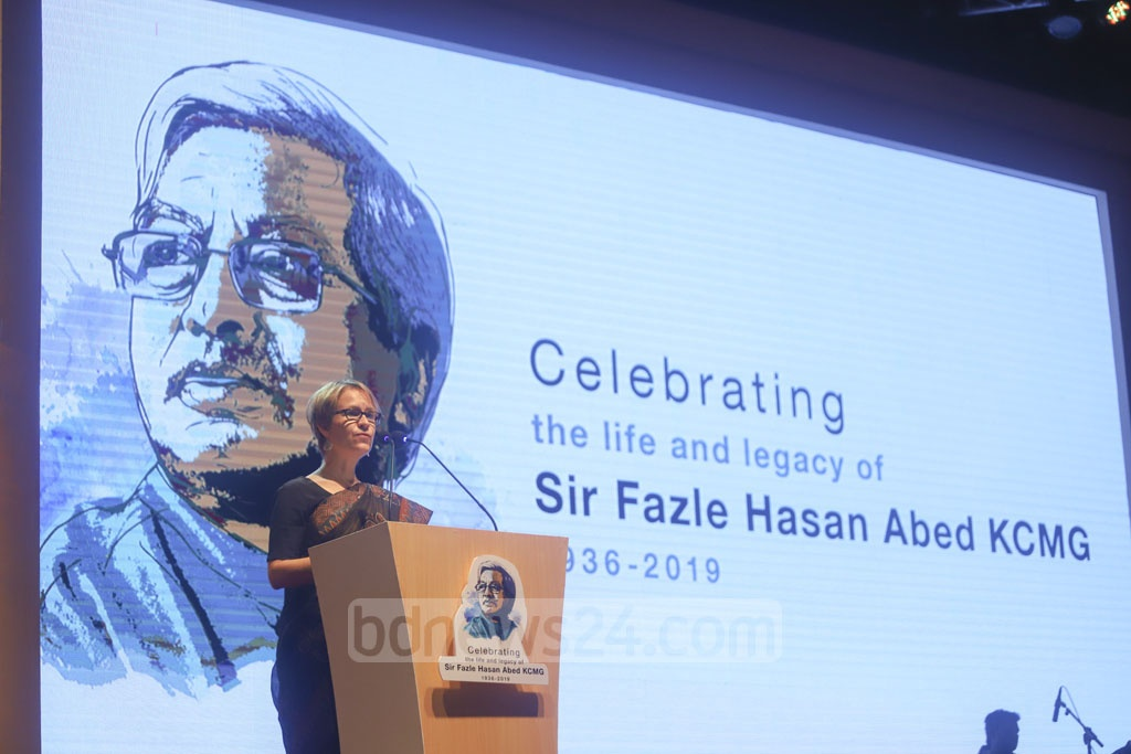 Mia Seppo, the UN resident coordinator in Bangladesh, reading out a message from Secretary-General Antonio Guterres at a commemoration for BRAC founder Sir Fazle Hasan Abed in Dhaka on Tuesday.