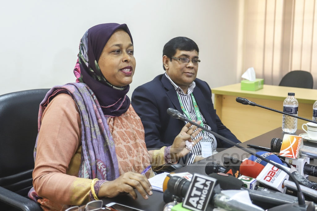 Dr Shahnila Ferdousi, head of the National Food Safety Laboratory, speaks at a press conference at IEDCR office in Dhaka about the health condition of Bangladeshis evacuated from China amid coronavirus outbreak. Photo: Asif Mahmud Ove