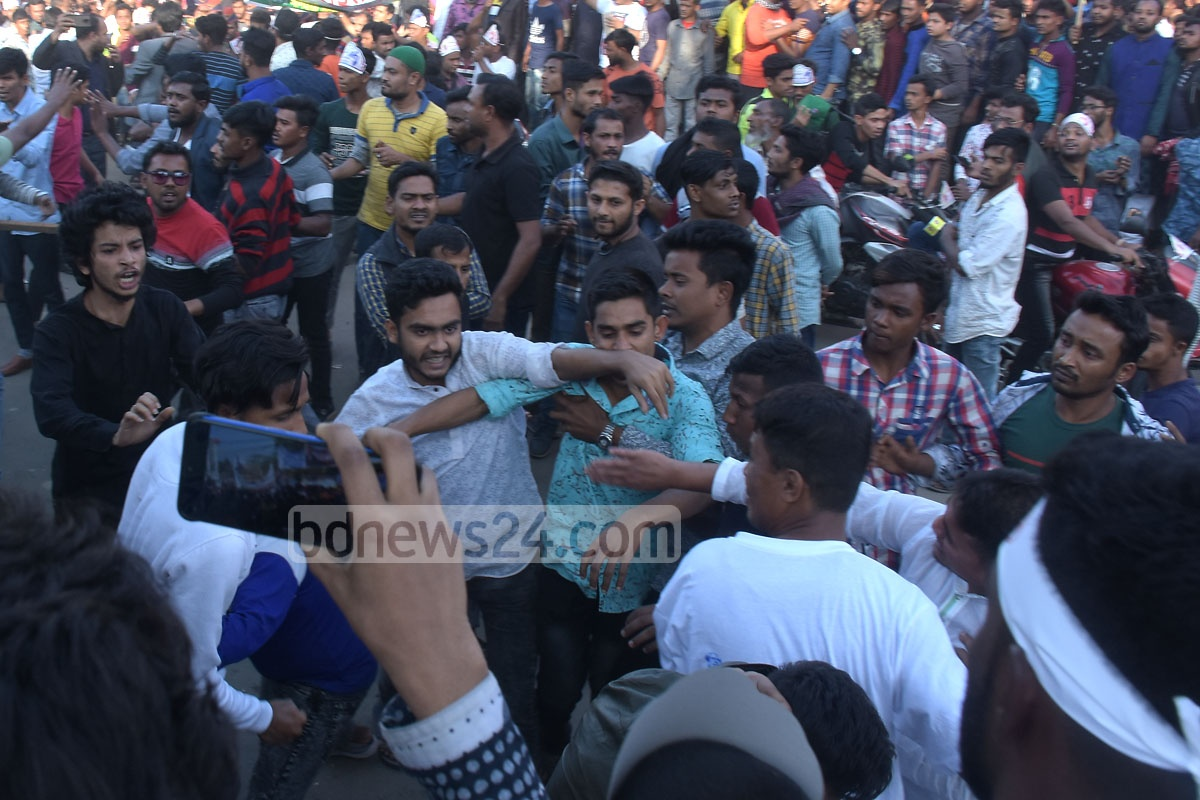 Awami League supporters clash outside an anti-terrorism rally organised by Chattogram City Corporation at Laldighi Maidan on Thursday.
