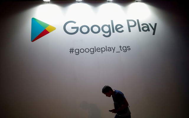 The logo of Google Play is displayed at Tokyo Game Show 2019 in Chiba, east of Tokyo, Japan, Sept 12, 2019. REUTERS