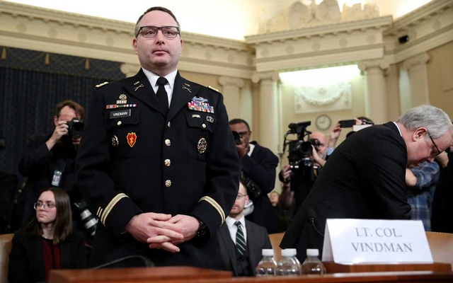 FILE PHOTO: Lt Colonel Alexander Vindman, director for European Affairs at the National Security Council, arrives to testify before a House Intelligence Committee hearing as part of the impeachment inquiry into US President Donald Trump on Capitol Hill in Washington, US, November 19, 2019. REUTERS