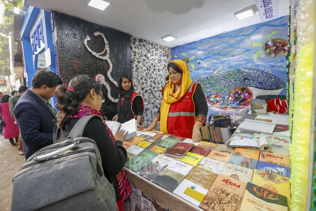 Bidyanondo, an organisation of volunteers for education, offer books in exchange for drugs with at least six months to expire, old mobile phones and laptops at the Amar Ekushey Book Fair.