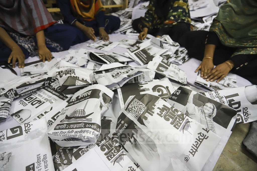 Packets made from election posters to distribute Iftar during Ramadan. Photo: Asif Mahmud Ove