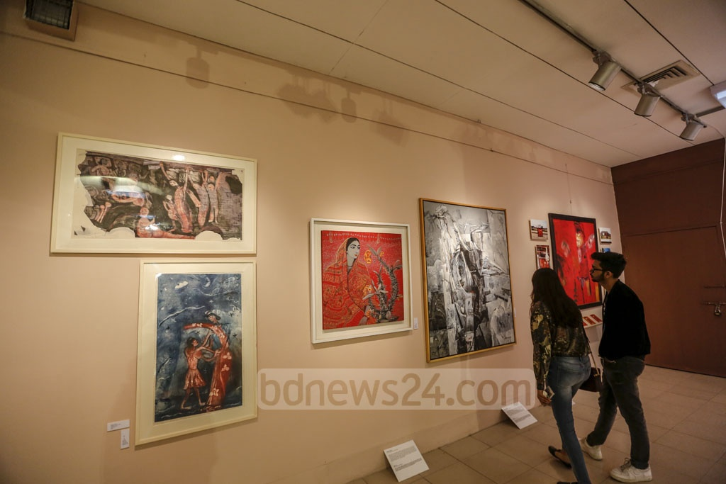 An exhibition showcasing the work of the country's pioneering artists, including Zainul Abedin, SM Sultan and Potua Quamrul Hassan, among others, at the Dhaka Art Summit. Photo: Mahmud Zaman Ovi