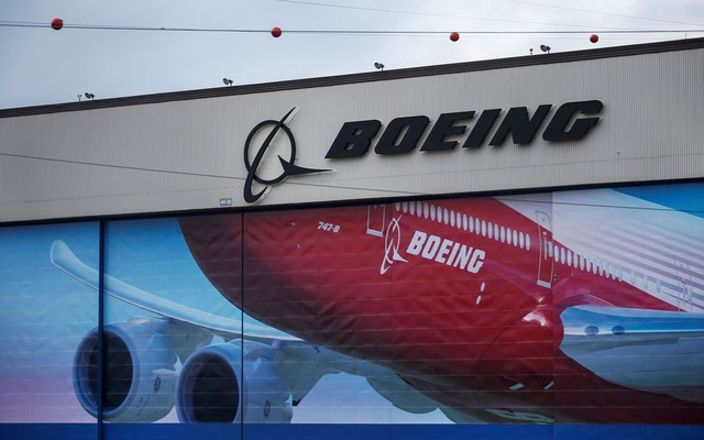 A Boeing logo is seen at the company's facility in Everett after it was announced that their 777X model will make its first test flight later in the week in Everett, Washington, US January 21, 2020. Reuters