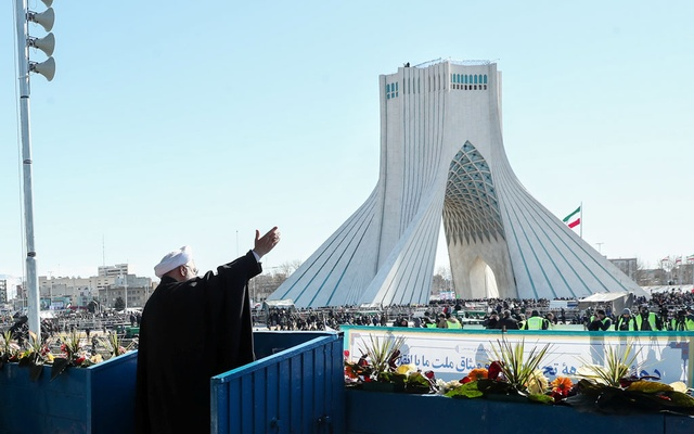 Iranian President Hassan Rouhani salutes the crowd during the commemoration of the 41st anniversary of the Islamic revolution in Tehran, Iran Feb 11, 2020. Official Presidential Website/Handout via REUTERS