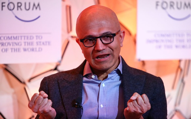 Satya Nadella, Chief Executive Officer of Microsoft, gestures as he attends a session at the 50th World Economic Forum (WEF) annual meeting in Davos, Switzerland, Jan 23, 2020. REUTERS