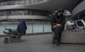 A man and his dog wear face masks in Beijing on Thursday, Feb 13, 2020. Top officials in Beijing on Thursday expanded their mass roundup of sick or possibly infected people beyond Wuhan, the city at the center of the coronavirus outbreak, to include other cities in Hubei Province that have been hit hard by the crisis, according to the state-run CCTV broadcaster. (Gilles Sabrié/The New York Times)
