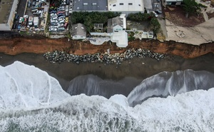 FILE -- The OceanAire apartment complex in Pacifica, Calif, on Dec 3, 2019. A proposal to build two huge barriers, one that would connect Norway to Scotland, the other France to England, was described as a warning about the urgency of the climate crisis and together, the mammoth structures proposed by scientists would completely enclose the North Sea and offer protection for tens of millions of Europeans threatened by rising sea levels. (Chang W. Lee/The New York Times)