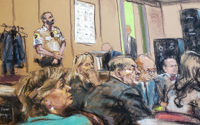 Attorney Gloria Allred sits in the front row of the gallery behind the defence during closing arguments at New York Criminal Court for Harvey Weinstein's sexual assault trial in the Manhattan borough of New York City, New York, US, Feb 14, 2020 in this courtroom sketch. REUTERS