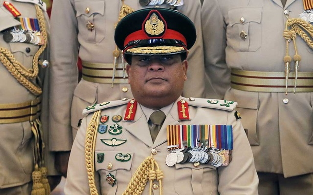 Sri Lankan army chief Shavendra Silva looks on during an event at the army head quarters in Colombo, Sri Lanka Feb 3, 2020. REUTERS