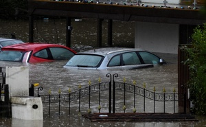 Cars underwater in Taff Wells, South Wales, Britain, February 16, 2020. Reuters