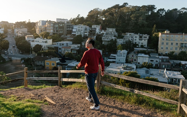 Yihao Xie, an environmental researcher in San Francisco, who says he stayed away from the office after a trip to China, walks in Corona Heights Park on Feb. 12, 2020. Though there are only a few known cases in the US, the coronavirus outbreak has left some Asian-Americans feeling an unsettling level of public scrutiny. (Jason Henry/The New York Times)