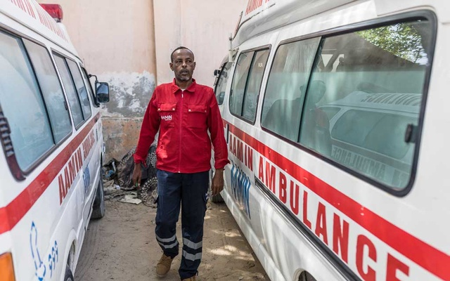 A staff member of Aamin Ambulance, who were the first responders after a truck bombing killed 82 people and injured 150, in Mogadishu, Somalia on Jan 1, 2020. The New York Times