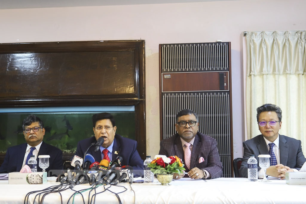 Foreign Minister AK Abdul Momen speaking at an event to hand medical logistics to Chinese Ambassador Li Jiming in Dhaka on Tuesday as a goodwill gesture from Prime Minister Sheikh Hasina for the country's health workers who are fighting a deadly coronavirus outbreak. Photo: Asif Mahmud Ove