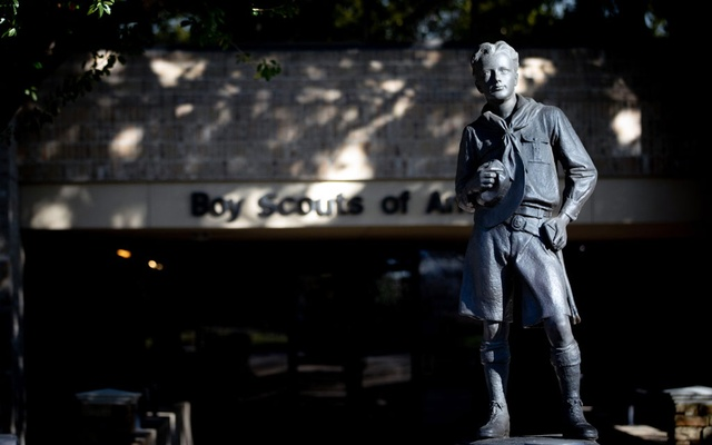 A statue outside the national headquarters of the Boy Scouts of America in Irving, Texas, on Feb. 14, 2020. The Boy Scouts, an iconic presence in the nation's experience for more than a century, filed for bankruptcy protection early Tuesday, Feb. 18, 2020, succumbing to financial pressures that included a surge in legal costs over its handling of sexual abuse allegations. (Allison V. Smith/The New York Times)